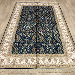 Yilong 5'x8' Blue Handmade Silk Area Rug Top Hand Knotted All Over Carpets 019b