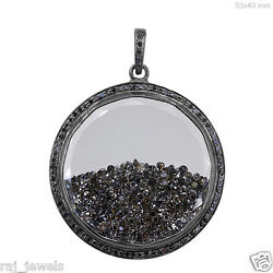 Natural Diamond Shaker Pendant 925 Sterling Silver Fine Antique Style Jewelry By