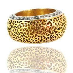 14k Gold Filigree Pave Diamond Band Ring 925 Silver Vintage Style Fatherand039s Gift