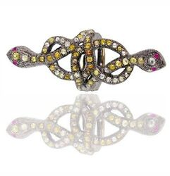 Sterling Silver Snake Ring 14k Gold 3.49ct Diamond Pave Vintage Look Jewelry By