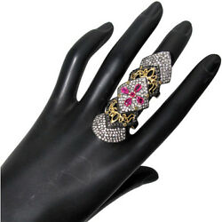 Ruby 925 Silver Diamond Pave 14k Gold Armor Knuckle Ring Vintage Look Jewelry Oy