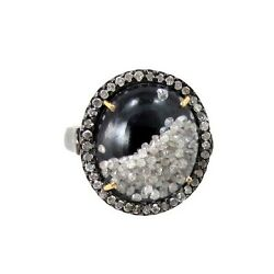 Black Onyx Diamond Cocktail Shaker Ring 925 Silver Crystal 14 K Gold Jewelry Oy