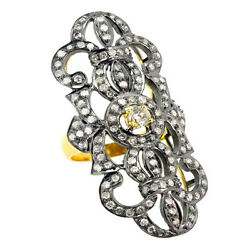 Diamond Pave 14k Gold Antique Sterling Silver Victorian Look Ring Jewelry Py