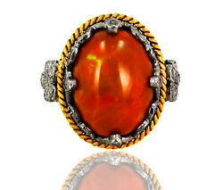Opal Gemstone Pave Diamond 14k Gold Antique Finish Ring 925 Silver Fatherand039s Gift