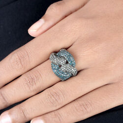 Natural Blue White Diamond Pave Chain Style Ring 925 Sterling Silver Jewelry New