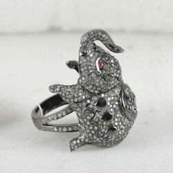Natural 2.65 Ct Pave Diamond Elephant Ring Animal Sterling Silver Ruby Jewelry