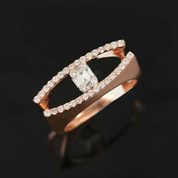 Solid 18k Rose Gold Pave Natural Baguette Diamond Statement Ring Fine Jewelry 7and039