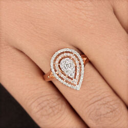 Solid 18k Rose Gold Pave Natural Diamond Pear Ring Fine Jewelry Mothers Day Gift