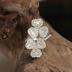 Solid 18k White Gold Pave Baguette 1.34ct Diamond Floral Wrap Ring Fine Jewelry