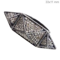 925 Sterling Silver Ring 6and039 Natural Diamond Pave Vintage Antique Look Jewelry Qy