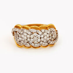 14k Yellow Solid Gold Pave Natural Diamond Braided Ring Proposal Fine Jewelry
