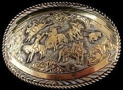 San Carlos Crumrine Jewelers Sterling Silver And 22k Gold Belt Buckle