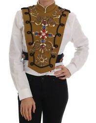 Dolce And Gabbana Vest Jacket Yellow Crystal Cross Runway It44 / Us10/ L Rrp 8800
