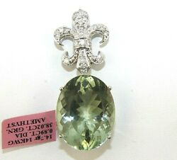Huge Oval Shape Green Amethyst And Diamond Lady's Pendant 14k White Gold 38.91ct