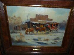 Original Western Oil Painting By Marianne Caroselli  Cold Journey 18 X 24