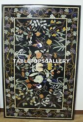 6'x4' Black Marble Dining Table Top Collectible Inlay Work Kitchen Decor H4322b