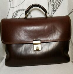 Henry Louis Vintage Mail Bag / Messenger Briefcase Brown Distressed Leather Bag