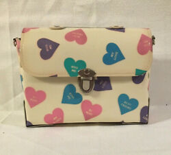 Vintage Box Purse Valentine's Day Candy Hearts No Strap Metal Handle Studs Usa