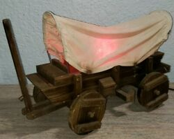 Vintage Primative Western Covered Wood Wagon Table Pull Chain Lamp Light 15