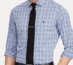 D Polo Classic Fit Performance Long Sleeve Blue Button Down Shirt