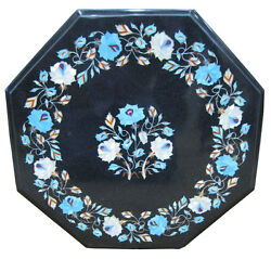 18 Black Marble Coffee Table Top Mosaic Work Turquoise Inlay Garden Decor H1897
