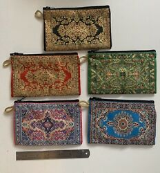 Carpet Design EmbroIdered Zip Clutch Purse Large iPhone7 8 X US Seller