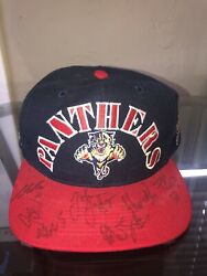Vtg 90s Autographed Florida Panthers Snapback Hat Cap Rare Nhl Block Spell Out