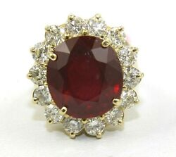 Natural Round Ruby And Diamond Halo Solitaire Ring 14k Yellow Gold 13.84ct