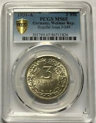 Germany 1931-a Weimar Republic 3 Reichsmark Silver Coin Pcgs Ms65
