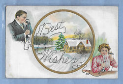 INTAGE POSTCARD CHRISTMAS EMBOSSED WITH 2 CANDLESTICK TELEPHONES POSTED 1912