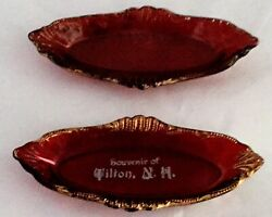 Eapg Ruby Stained Set Of Two Pin Trays With Gold Tilton N.h.
