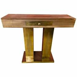Set Modern Moroccan Console Table And Mirror In Walnut Wood And Brass