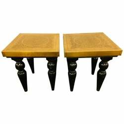 End Side Or Lamp Table In Hollywood Regency Style With Brass Top A Pair