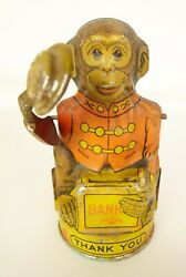 J. Chein And Co. Antique Tin Litho Mechanical Tipping Hat Monkey Bank-nice Orig