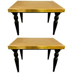 Hollywood Regency Style Brass Center Or End Table, A Pair