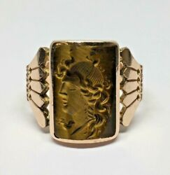 Victorian 1800's 10k Rose Gold Tiger Eye Hand Carved Cameo Ring Size 10