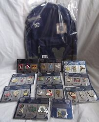 Disney Store 30th Anniversary Complete Set Of 30 Pins + Jiminy Cricket Backpack