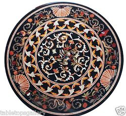 2and039x2and039 Marble Round Coffee Table Top Pietra Dura Inlay Interior Arts Decor H1511