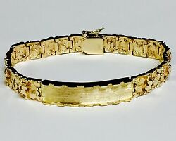 10k Solid Yellow Gold Handmade Menand039s Id Nugget Bracelet 9mm 42 Grams 9.5