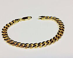 18k Solid Yellow Gold Handmade Curb Link Menand039s Bracelet 7.5 Mm 8.5 37 Grams