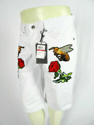Mens Shorts In White with Embroidered Bee and Rose Patches Cotton Blend