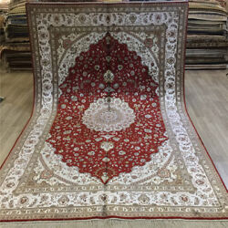 Yilong 6and039x9and039 Red Handmade Hand Knotted Home Carpets Classic Silk Area Rugs 078c