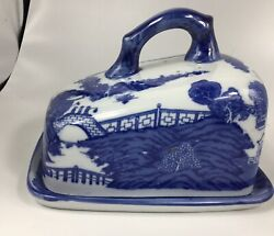 Antique English Blue Willow Cheese Keeper Dish