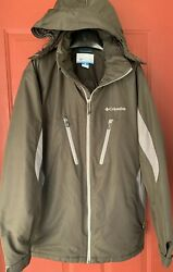 Columbia Menand039s Hooded Animony Waterproof Jacket Size L Black And Gray Large Wm4115