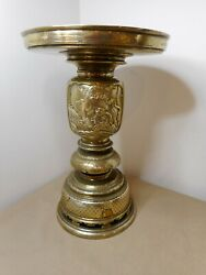 Antique Asian Silver And Gold Inlaid Brass Ceremonial Urn Candle Light Vase
