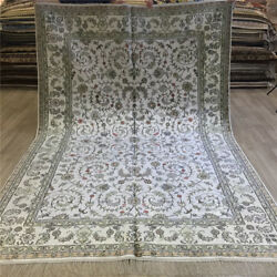 Yilong 6and039x9and039 All-over Hand Knotted Carpets Flowers Vintage Silk Home Rugs 081c