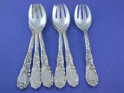 Old Estate 6 Sterling And Co Ice Cream Forks Chrysanthemum 1880
