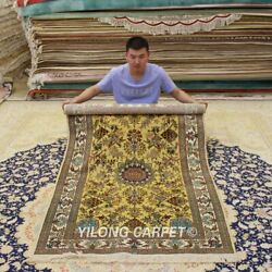 Yilong 3.5'x5.75' Gold Silk Tapestry Vintage Carpet Hand Knotted Area Rugs 312h