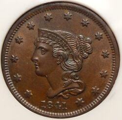 1841 Large Cent Gem Uncirculated Nice Pq Lustrous Surfaces 0407-01