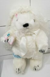 Gorham 1984 June Bear Of The Month Wedding Bride White Jointed 13 Plush Mint